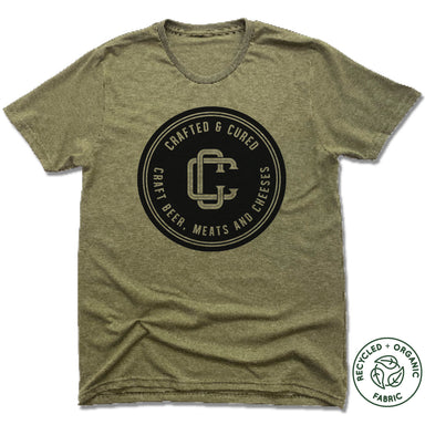 CRAFTED & CURED | UNISEX OLIVE Recycled Tri-Blend | BLACK LOGO