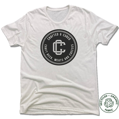 CRAFTED & CURED | UNISEX WHITE Recycled Tri-Blend | BLACK LOGO