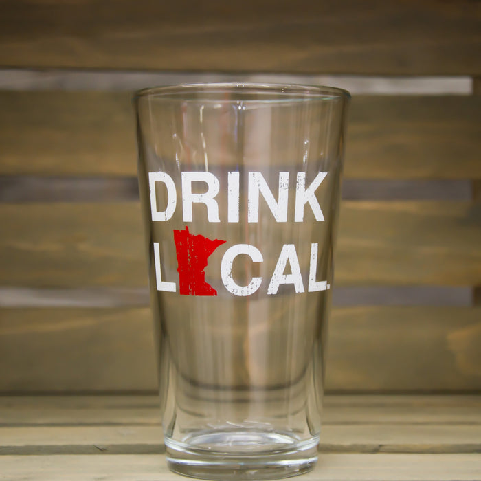 Minnesota Pint Glass | Drink Local | Red