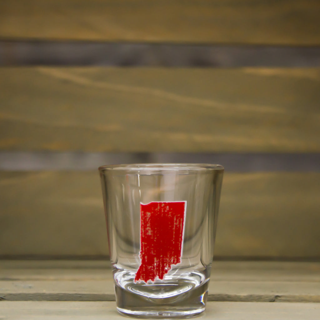 INDIANA SHOT GLASS | STATE | RED
