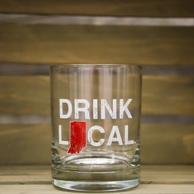 Indiana Rocks Glass | Drink Local | Red - My State Threads