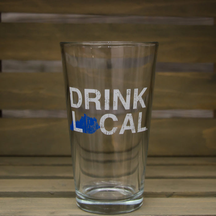 Kentucky Pint Glass | Drink Local | Blue