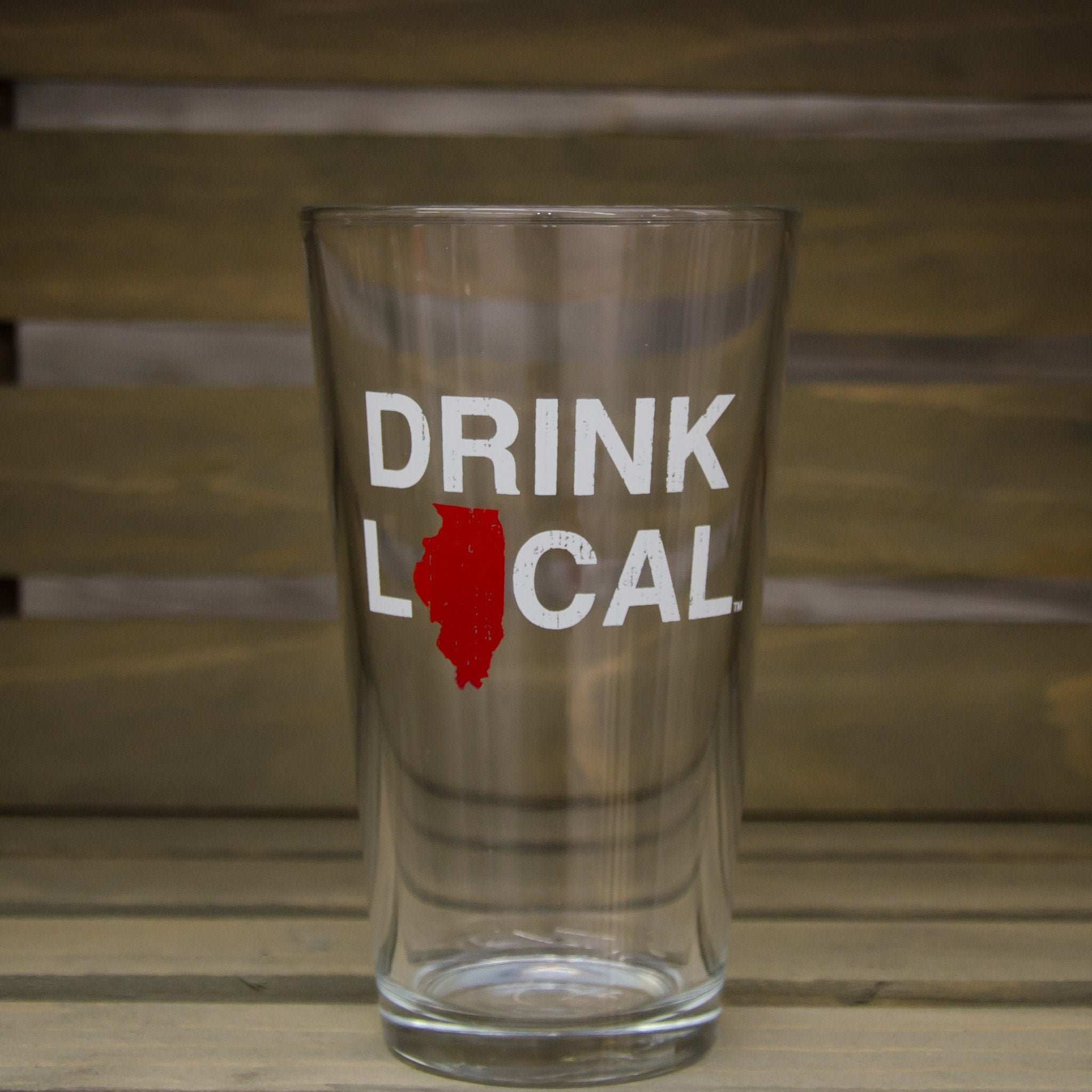Illinois Pint Glass | Drink Local | Red