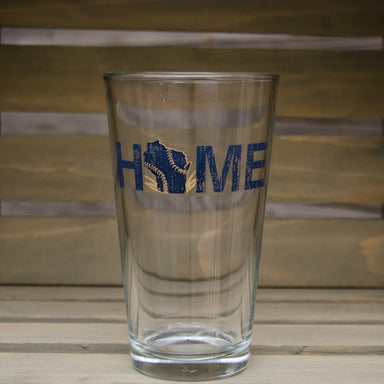 WISCONSIN PINT GLASS | MILWAUKEE STITCHES | NAVY/GOLD