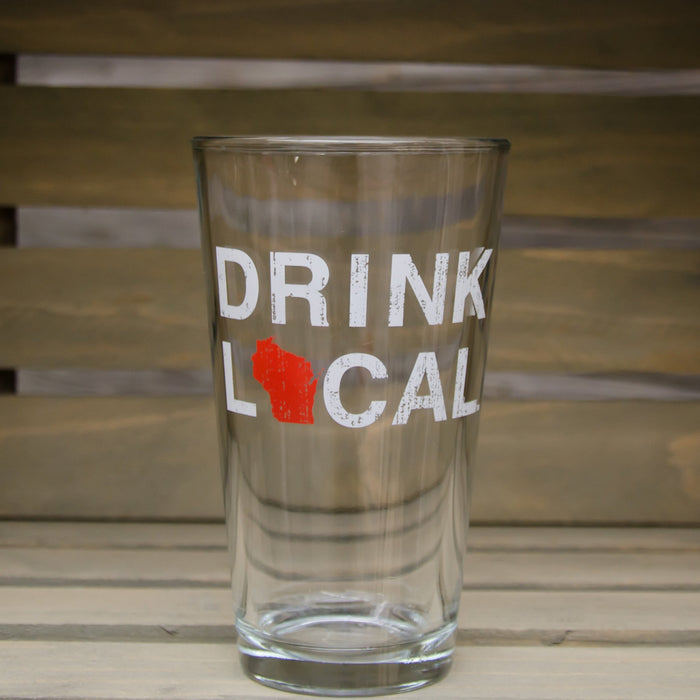 WISCONSIN PINT GLASS | DRINK LOCAL | RED