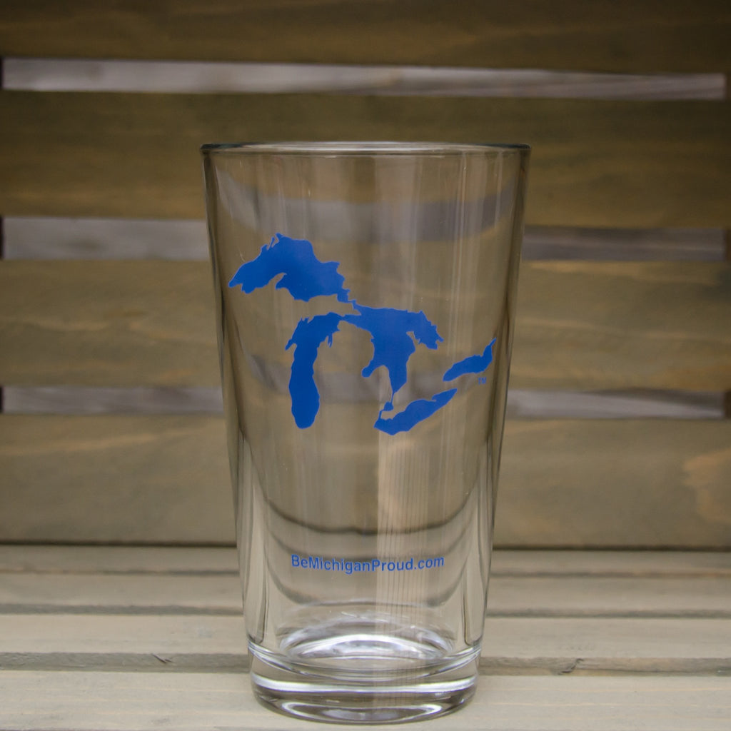 MICHIGAN PINT GLASS | GREAT LAKES | BLUE