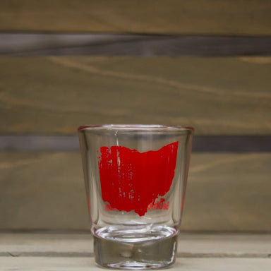 OHIO SHOT GLASS | STATE | RED