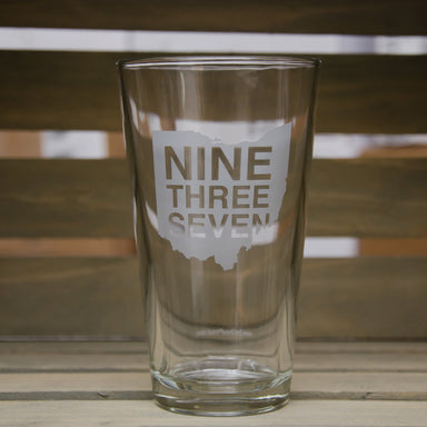 OHIO PINT GLASS | 937 SCRIPT | WHITE - My State Threads