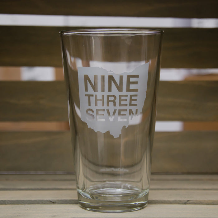 OHIO PINT GLASS | 937 SCRIPT | WHITE