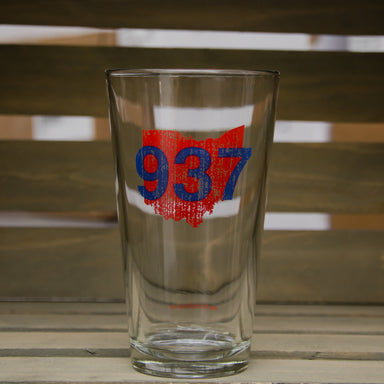 OHIO PINT GLASS | 937 | RED/BLUE - My State Threads