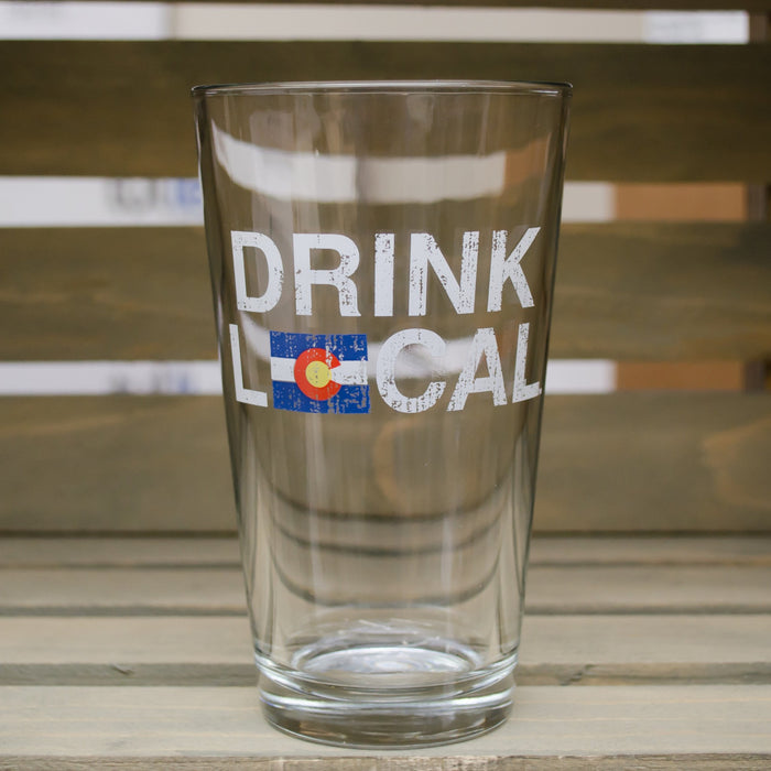 Colorado Pint Glass | Drink Local Flag | Red/Blue/Gold