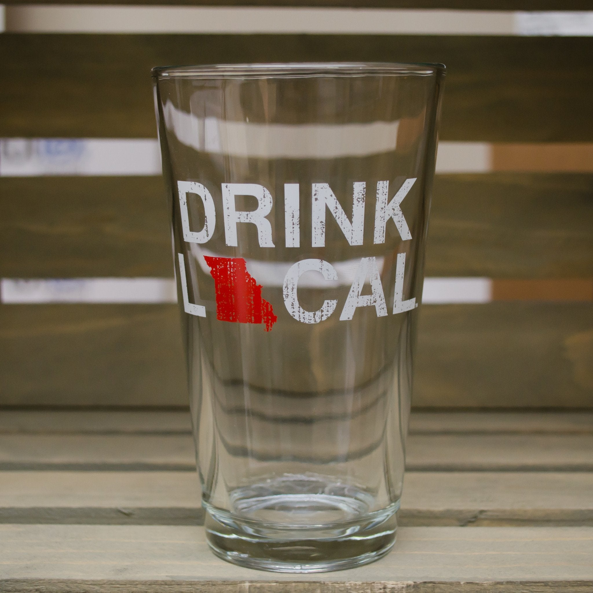 MISSOURI PINT GLASS | DRINK LOCAL | RED