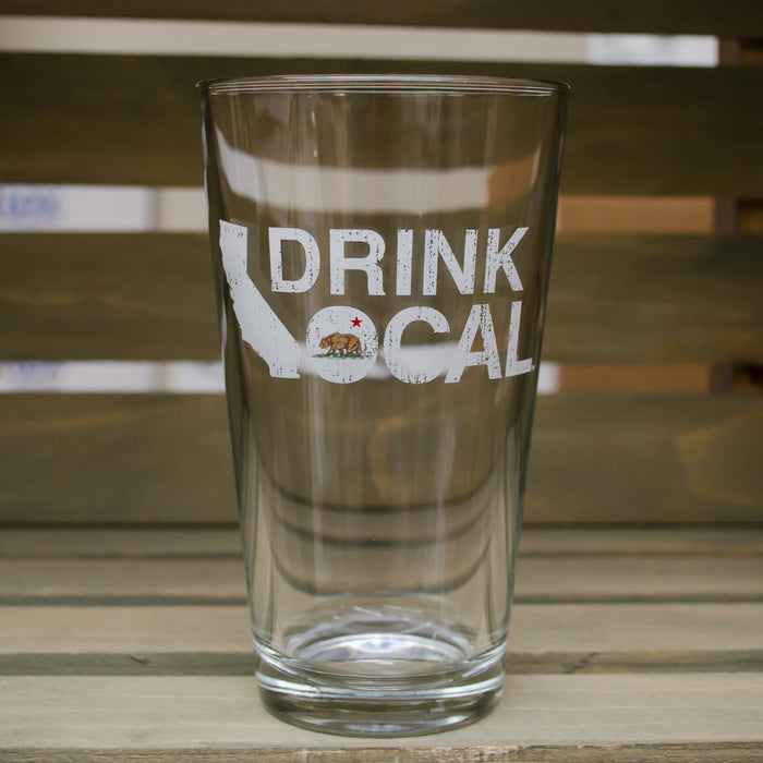 California Pint Glass | Drink Local | Red/White