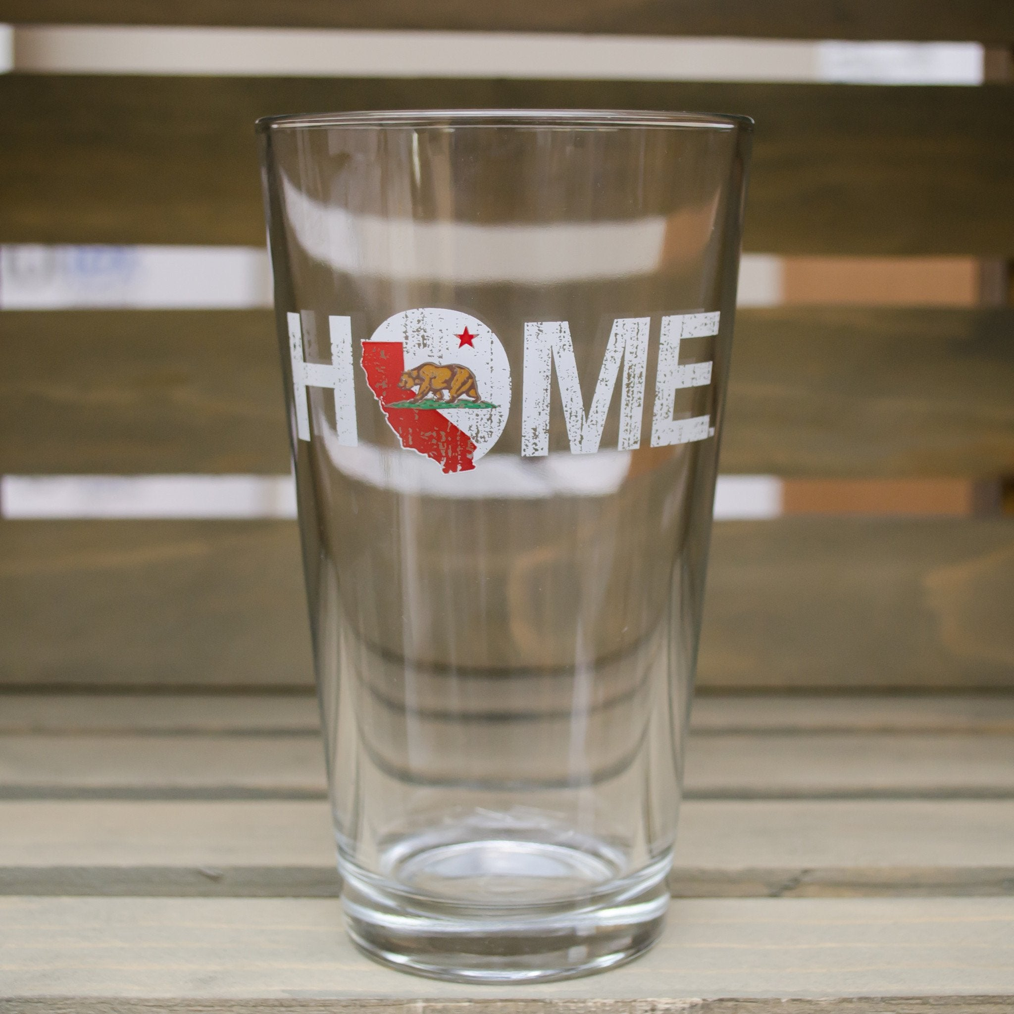 California Pint Glass | Bear | Red/White