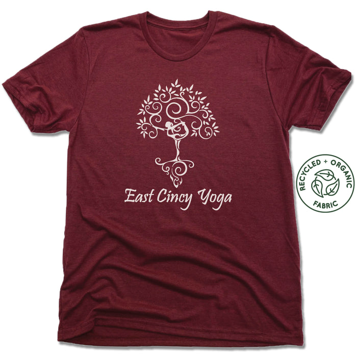 EAST CINCY YOGA | UNISEX VINO RED Recycled Tri-Blend | TREE