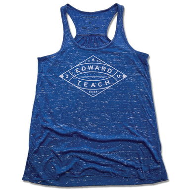 EDWARD TEACH BREWING | LADIES BLUE FLOWY TANK | DESIGN