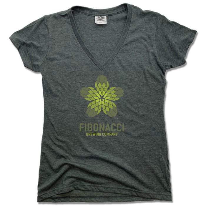 FIBONACCI BREWING COMPANY | LADIES V-NECK | COLOR LOGO