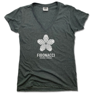 FIBONACCI BREWING COMPANY | LADIES V-NECK | WHITE LOGO