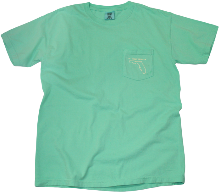 FLORIDA MINT GREEN POCKET TEE | OUTLINE | PALE YELLOW