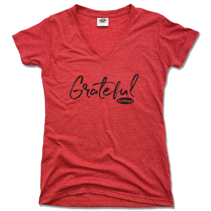 GO YOGA | LADIES RED V-NECK | GRATEFUL