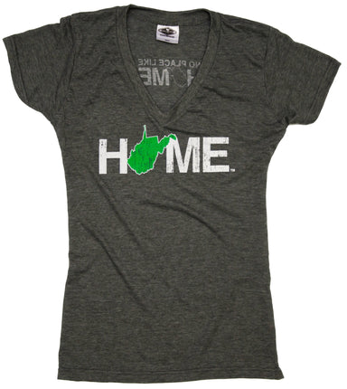 WEST VIRGINIA LADIES V-NECK | HOME | GREEN/WHITE
