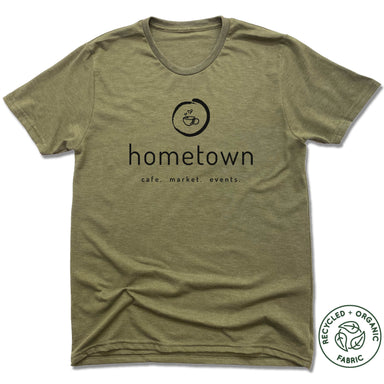 HOMETOWN CAFE | UNISEX OLIVE Recycled Tri-Blend | LOGO