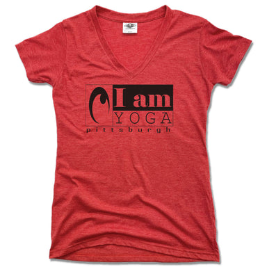 I AM YOGA PITTSBURGH | LADIES RED V-NECK | BLACK LOGO