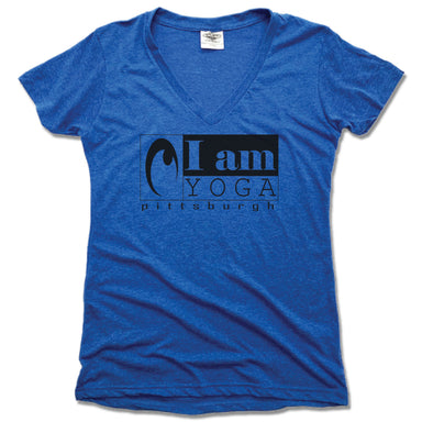 I AM YOGA PITTSBURGH | LADIES BLUE V-NECK | BLACK LOGO