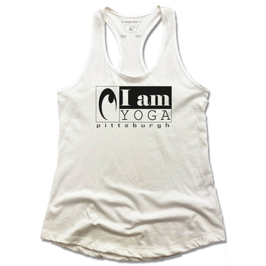 I AM YOGA PITTSBURGH | LADIES WHITE TANK | BLACK LOGO