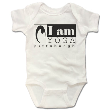 I AM YOGA PITTSBURGH | WHITE ONESIE | BLACK LOGO