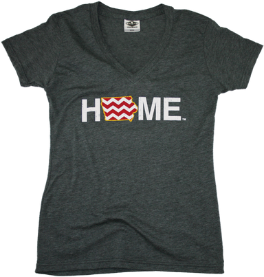 IOWA LADIES V-NECK | HOME | CHEVRON/CARDINAL