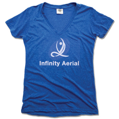 INFINITY AERIAL | LADIES BLUE V-NECK | LOGO