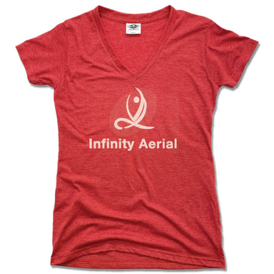 INFINITY AERIAL | LADIES RED V-NECK | LOGO