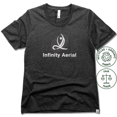 INFINITY AERIAL | FAIRTRADE FREESET BLACK LADIES TEE | LOGO