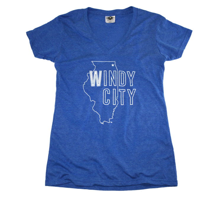 ILLINOIS LADIES' BLUE V-NECK | WINDY CITY | CHICAGO