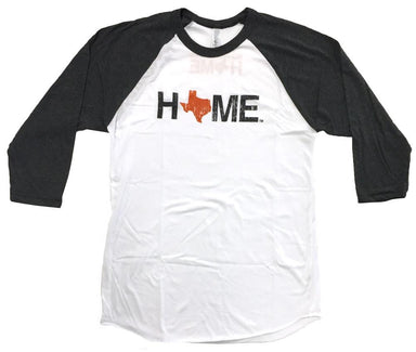 White unisex 3/4 sleeve crew neck HOME tee with charcoal sleeves and an orange Texas as the O