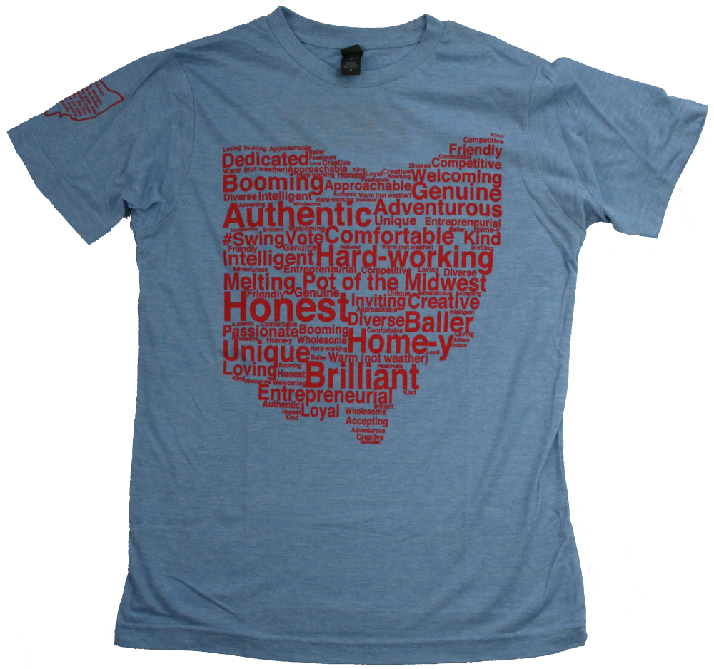 Ohio Tee | Word Cloud | Blue/Red