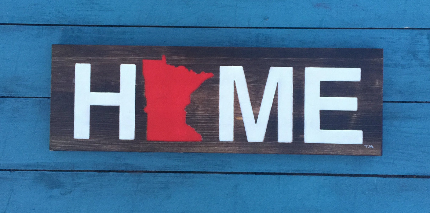 MINNESOTA WOODEN SIGN | HOME | RED