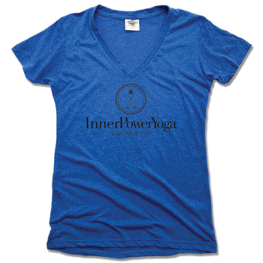 INNER POWER YOGA STUDIO | LADIES BLUE V-NECK | BLACK LOGO