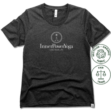 INNER POWER YOGA STUDIO | FAIRTRADE FREESET BLACK LADIES TEE | WHITE LOGO