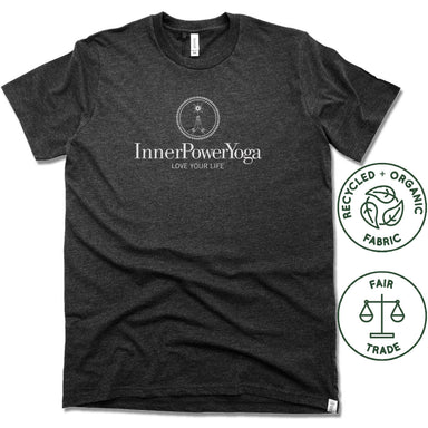 INNER POWER YOGA STUDIO | FAIRTRADE FREESET BLACK UNISEX TEE | WHITE LOGO