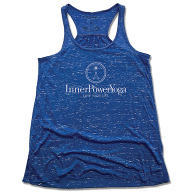 INNER POWER YOGA STUDIO | LADIES BLUE FLOWY TANK | WHITE LOGO