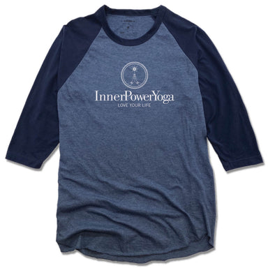 INNER POWER YOGA STUDIO | DENIM/NAVY 3/4 SLEEVE | WHITE LOGO