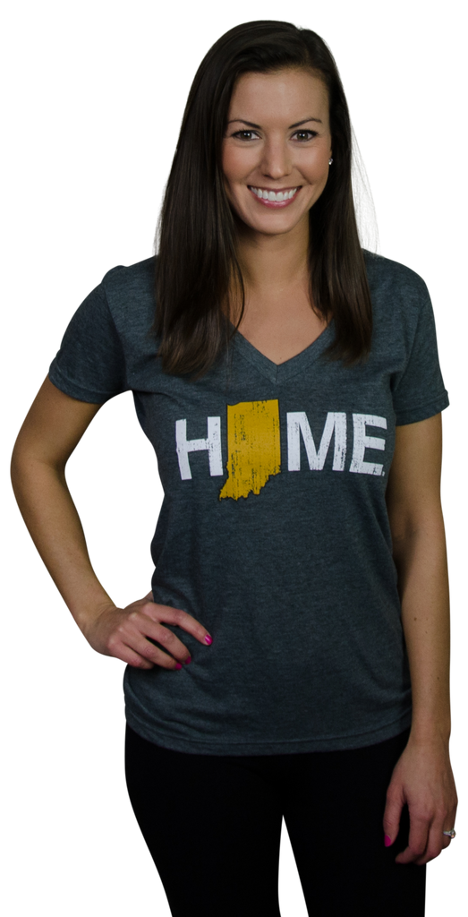 Ladies' Indiana HOME Gold V-Neck Tee