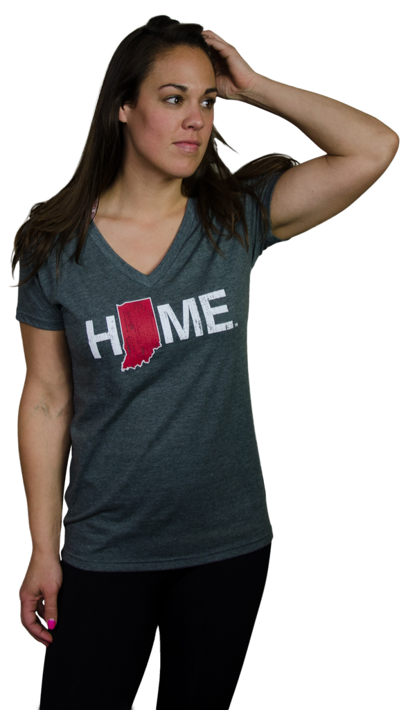 Ladies' Indiana HOME Crimson V-Neck Tee