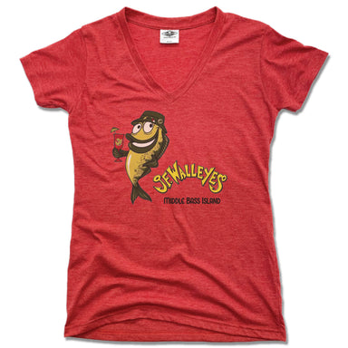 JF WALLEY'S | LADIES RED V-NECK | DESIGN