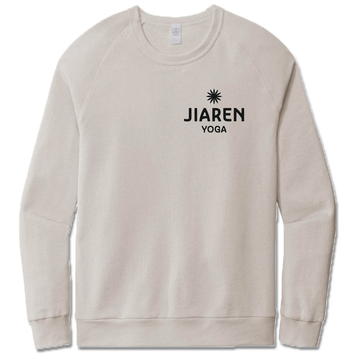 JIAREN YOGA STUDIO | LIGHT GRAY FRENCH TERRY SWEATSHIRT | BLACK LOGO