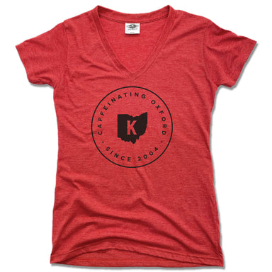 KOFENYA COFFEE | LADIES RED V-NECK | CAFFEINATING OXFORD