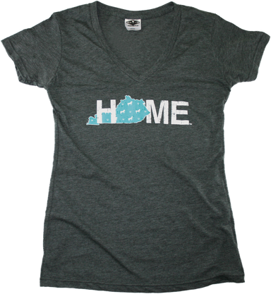KENTUCKY LADIES V-NECK | HOME | HORSE PATTERN - My State Threads