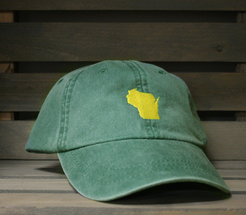 Wisconsin Vintage Green HAT | State Only | Yellow